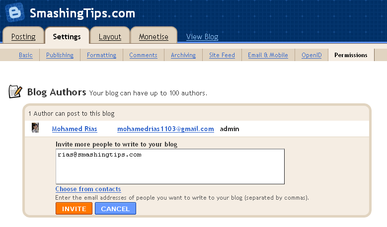 Add multiple author email id in blogger