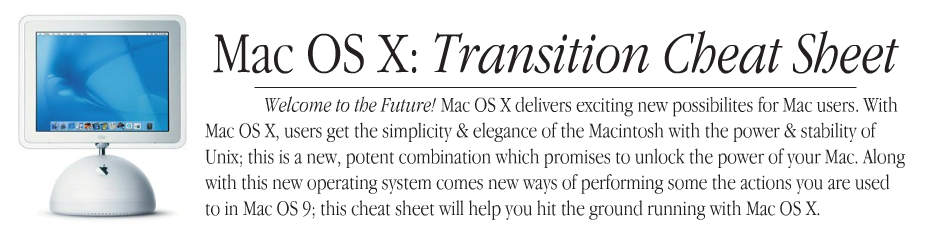 MAC OS X cheat sheet