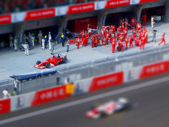 Car Race Pits tilt Shift Photography