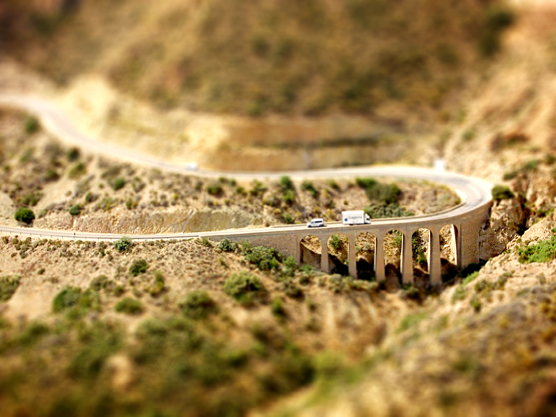 Bridge in Spain miniature tilt Shift Photography