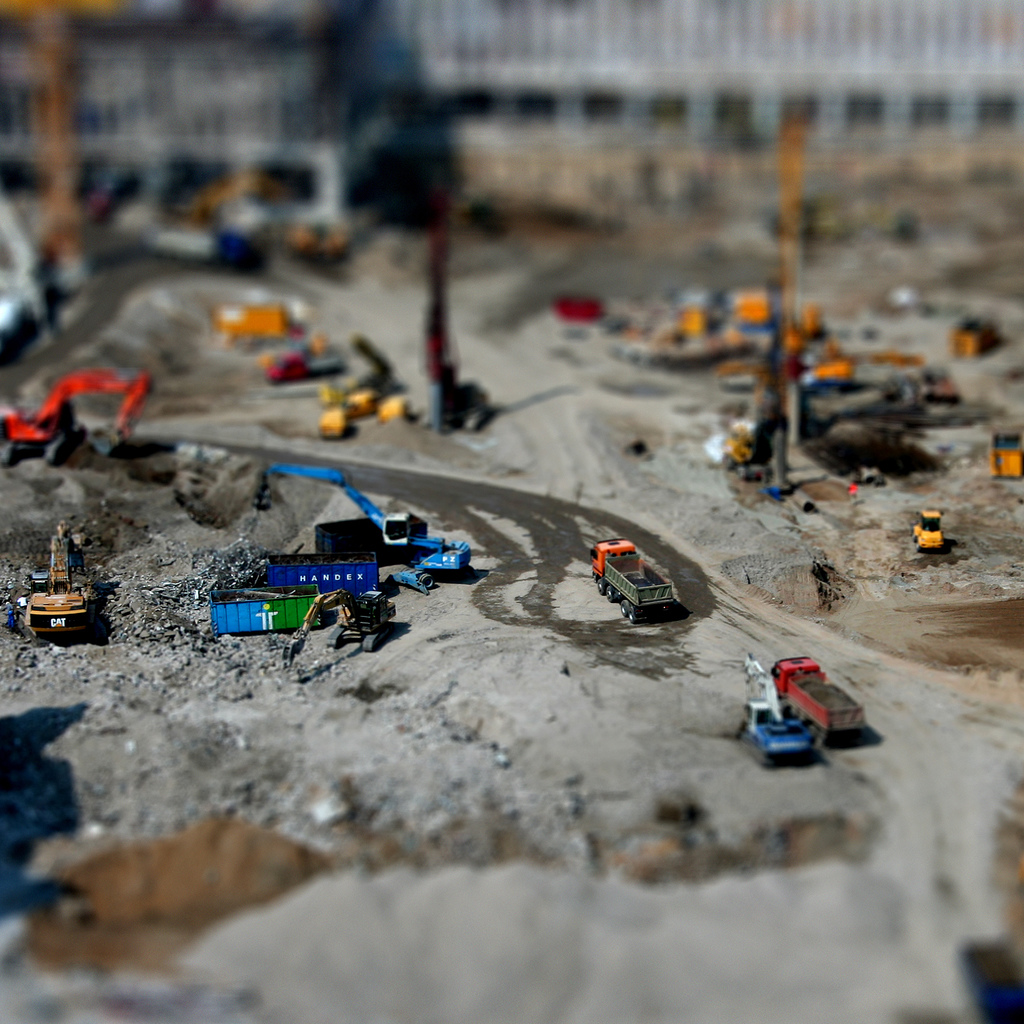 construction site miniature tilt Shift Photography