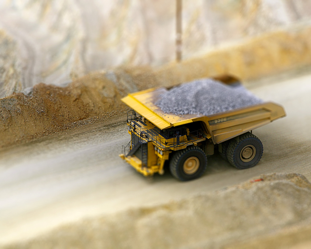 Copper Mini Dump truck tilt Shift Photography