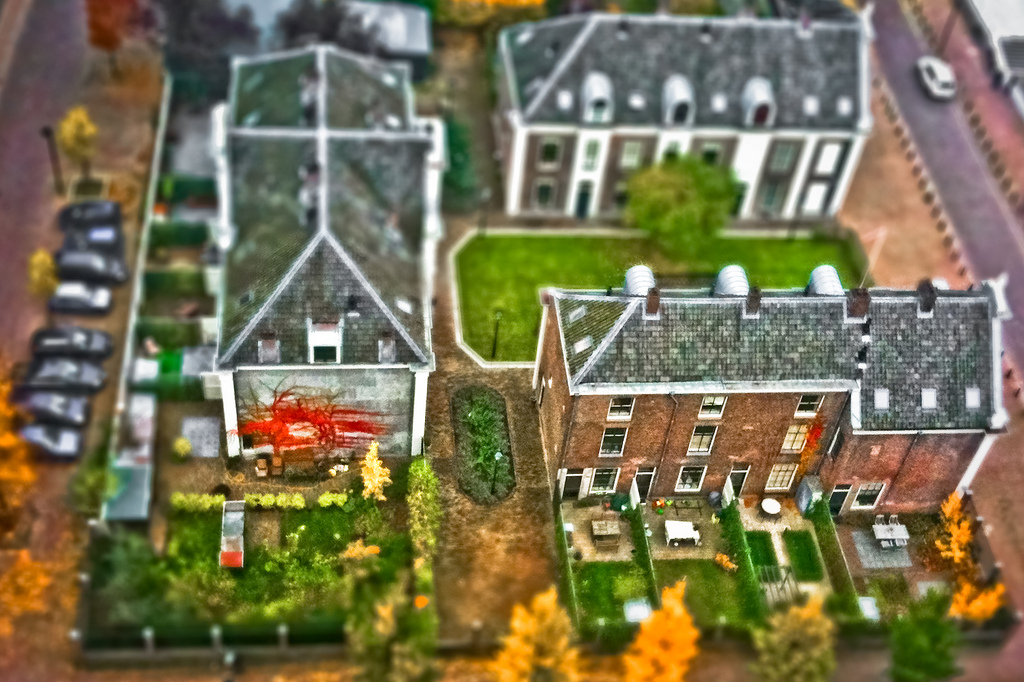 Miniature of neighborhood building tilt Shift Photography