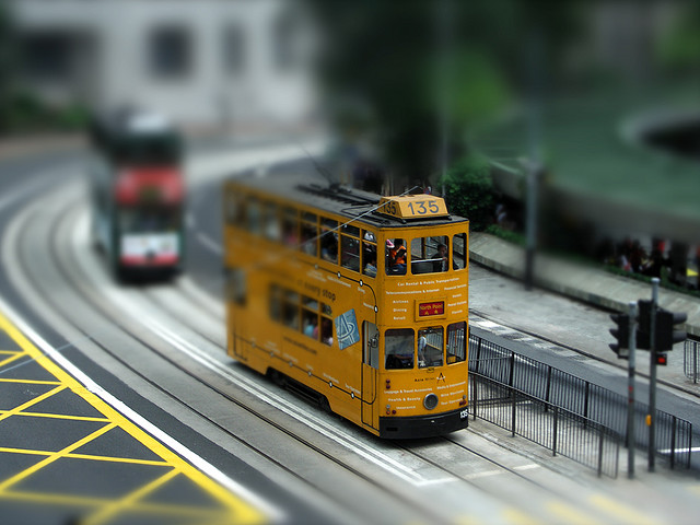 Tram at Central, Hong Kong tilt Shift Photography