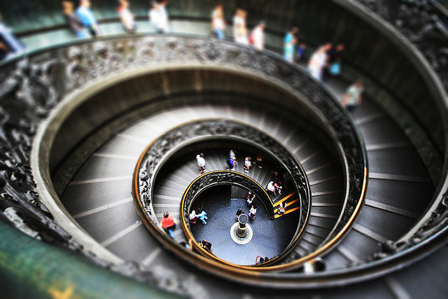 Vatican Stairs tilt Shift Photography