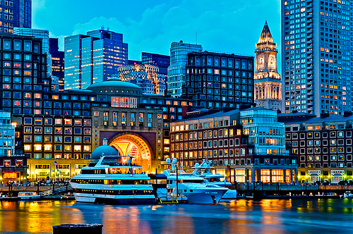Rowes Wharf and Custom House Tower at Dusk, Boston - Nightscape photography