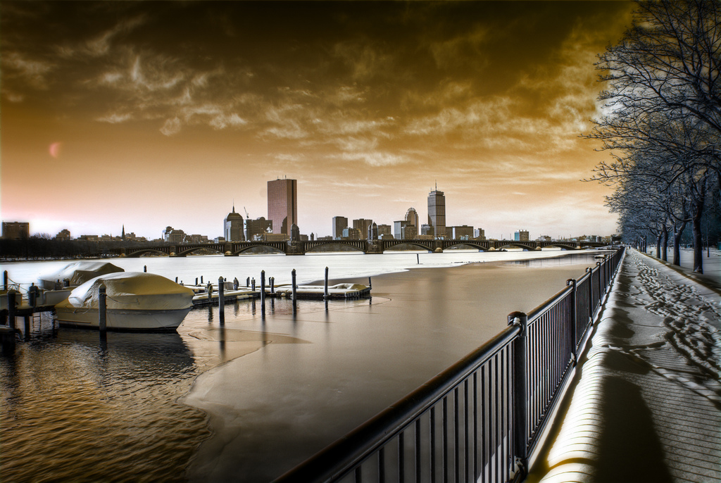 Boston in Red infrared photography taken by Werner Kunz